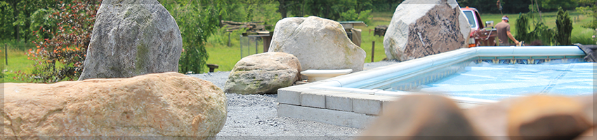 Landscaping, features some of our boulders.